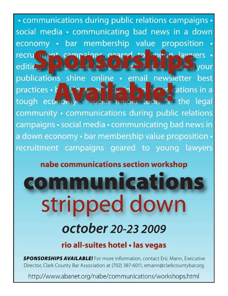 Sponsorships      Available!     SPONSORSHIPS AVAILABLE! For more information, contact Eric Mann, Executive Director, Clar...