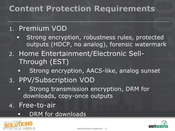 Content Protection Requirements1.   Premium VOD         Strong encryption, robustness rules, protected          outputs (...