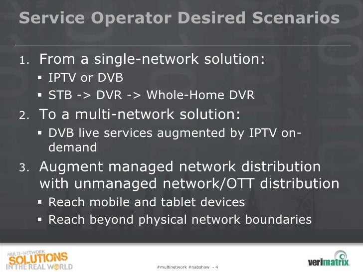 Service Operator Desired Scenarios1.   From a single-network solution:      IPTV or DVB      STB -> DVR -> Whole-Home DV...