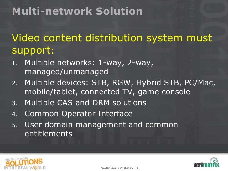 Multi-network SolutionVideo content distribution system mustsupport:1.   Multiple networks: 1-way, 2-way,     managed/unma...