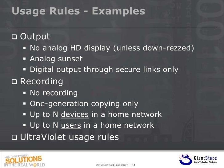 Usage Rules - Examples   Output     No analog HD display (unless down-rezzed)     Analog sunset     Digital output thr...