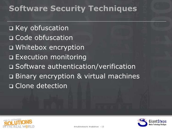 Software Security Techniques Key obfuscation Code obfuscation Whitebox encryption Execution monitoring Software authe...