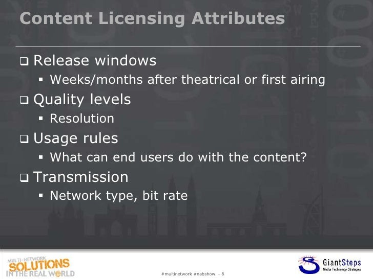 Content Licensing Attributes   Release windows     Weeks/months after theatrical or first airing   Quality levels     ...