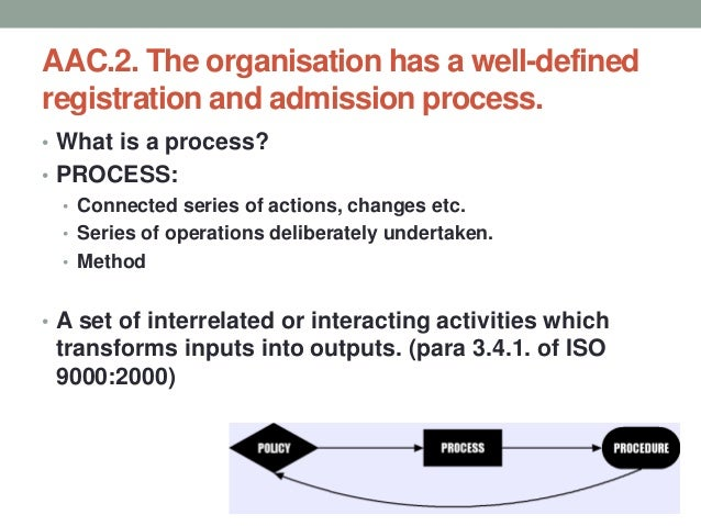AAC.2. The organisation has a well-defined registration and admission process. • What is a procedure? • Procedure (n) • Th...