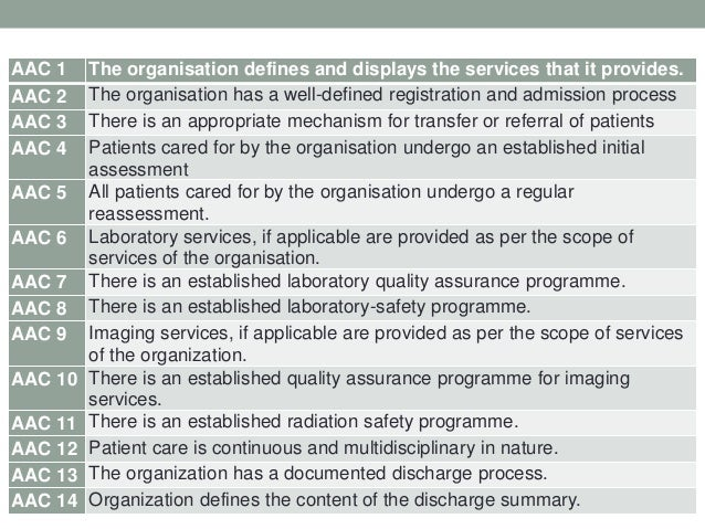 AAC.1. Standard • The organisation defines and displays the services that it provides.