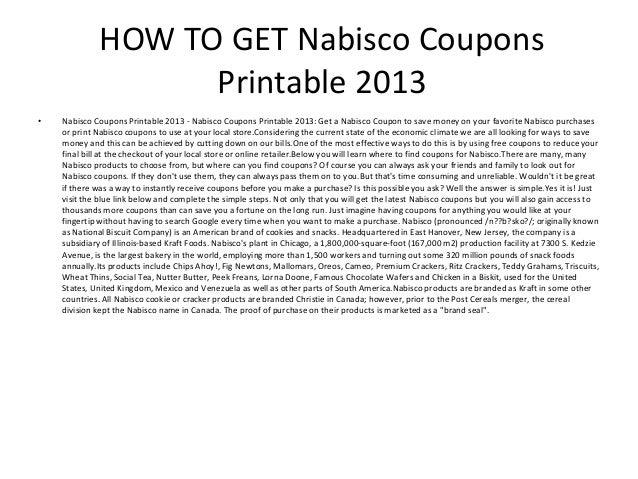 image about Nabisco Printable Coupons named Nabisco Discount codes Printable 2013 - Nabisco Coupon codes Printable 2013