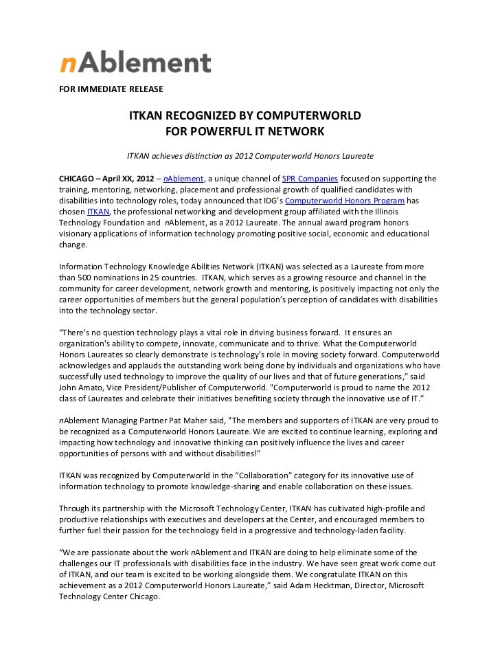 FOR IMMEDIATE RELEASE                   ITKAN RECOGNIZED BY COMPUTERWORLD                         FOR POWERFUL IT NETWORK ...