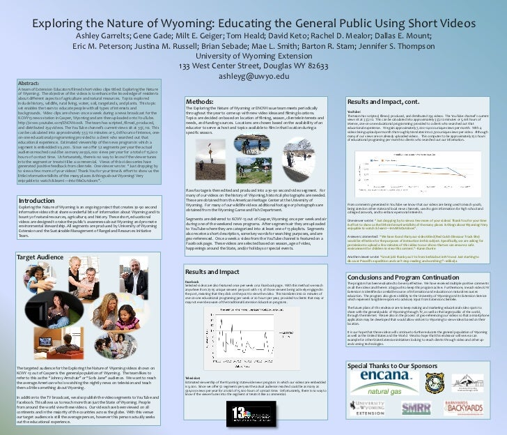 Exploring the Nature of Wyoming: Educating the General Public Using Short Videos                                  Ashley G...