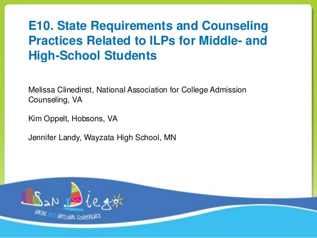 E10. State Requirements and Counseling Practices Related to ILPs for Middle- and High-School Students Melissa Clinedinst, ...