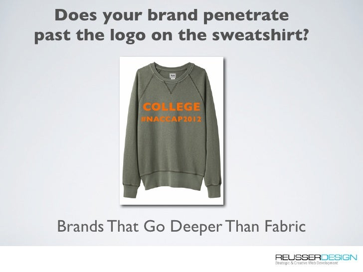 Does your brand penetratepast the logo on the sweatshirt?             COLLEGE             #NACCAP2012  Brands That Go Deep...