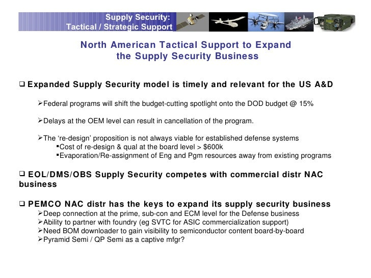 Supply Security:            Tactical / Strategic Support                 North American Tactical Support to Expand        ...