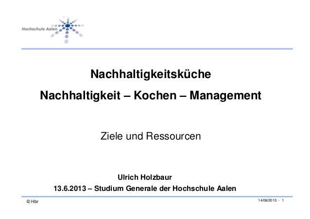 NachhaltigkeitskücheNachhaltigkeit – Kochen – ManagementZi l d RZiele und RessourcenUlrich Holzbaur© Hbr 14/06/2013 - 113....