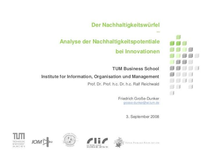 Der Nachhaltigkeitswürfel                                               –         Analyse der Nachhaltigkeitspotentiale   ...