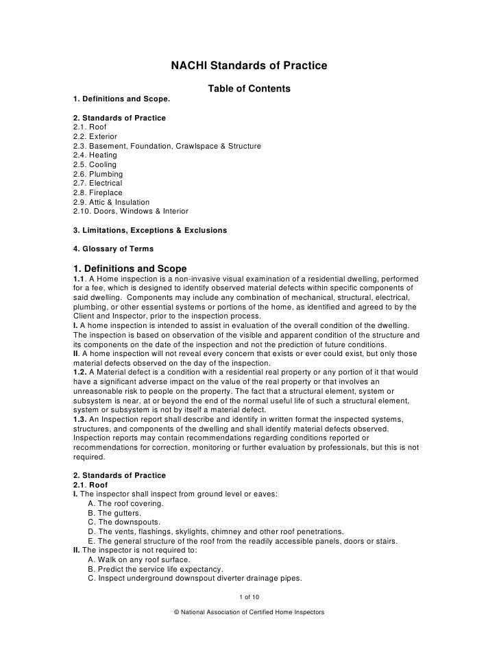 NACHI Standards of Practice                                        Table of Contents1. Definitions and Scope.2. Standards ...