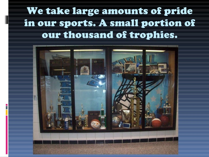 We take large amounts of pride in our sports. A small portion of our thousand of trophies.