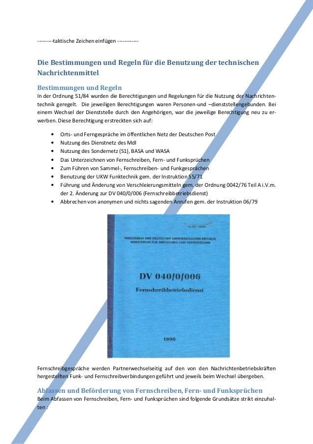 ---------taktische Zeichen einfügen ------------Die Bestimmungen und Regeln für die Benutzung der technischenNachrichtenmi...