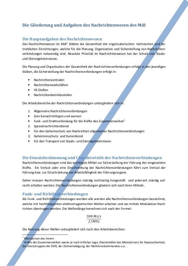 Die Gliederung und Aufgaben des Nachrichtenwesen des MdIDie Hauptaufgaben des NachrichtenwesenDas Nachrichtenwesen im MdI1...