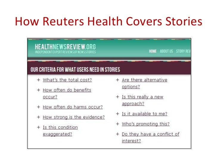 How Do Others Cover Stories?          Schwitzer G. How do U.S. journalists cover treatments, tests, products,          and...