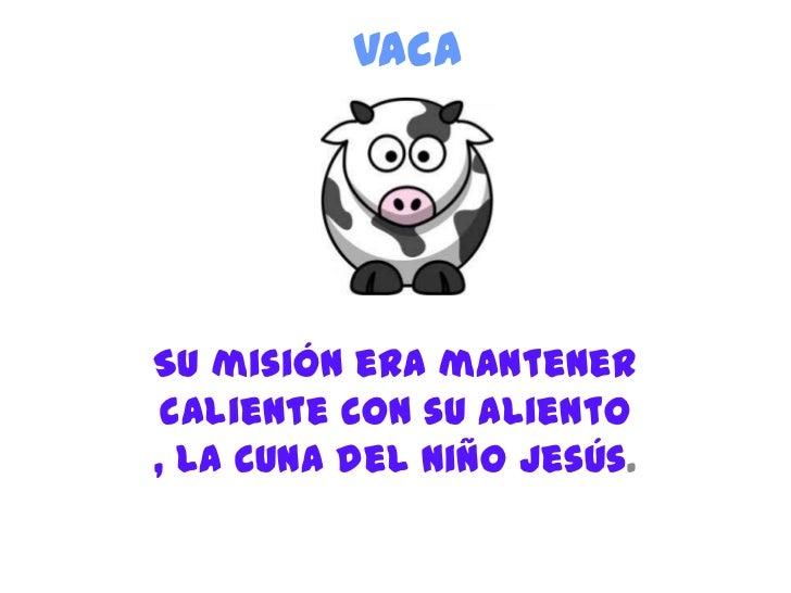 VacaSu misión era mantener caliente con su aliento, la cuna del niño Jesús.