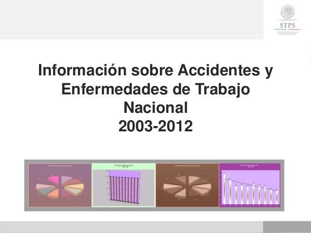 Información sobre Accidentes y Enfermedades de Trabajo Nacional 2003-2012