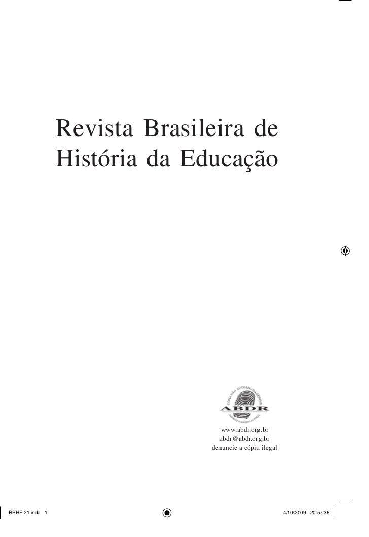 Revista Brasileira deHistória da Educação                 www.abdr.org.br                abdr@abdr.org.br              den...