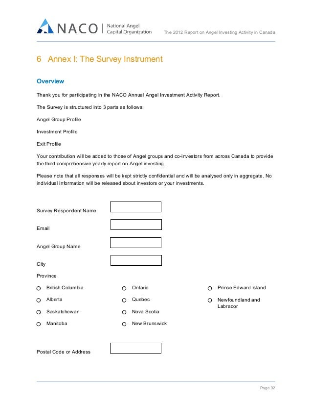 The 2012 Report on Angel Investing Activity in Canada      6 Annex I: The Survey Instrument     Overview Thank you ...