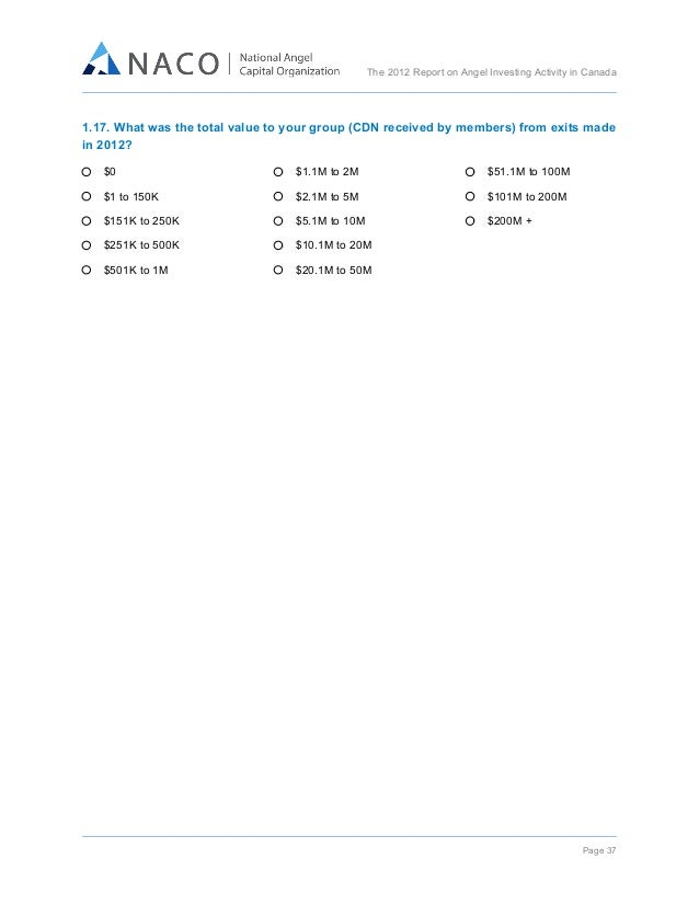 The 2012 Report on Angel Investing Activity in Canada     1.17. What was the total value to your group (CDN received ...