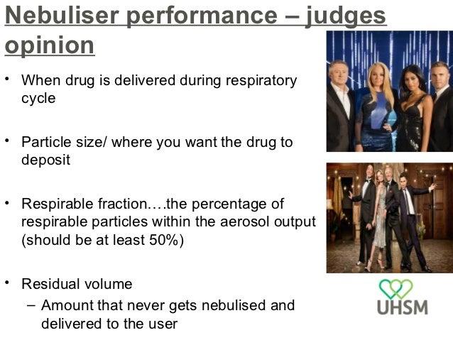 Nebuliser performance – public opinion•   Cost of compressor, nebuliser•   Servicing•   Weight/ portability•   Nebulisatio...