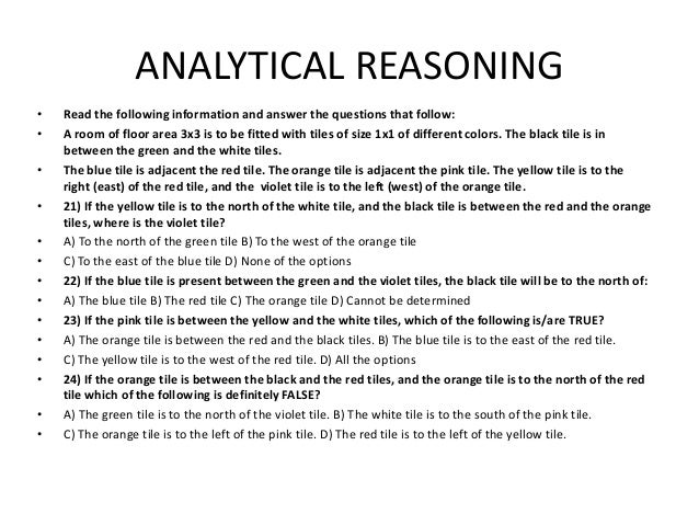 Analytical reasoning diagrams easy to read wiring diagrams nac questions analytical ability rh slideshare net analytical reasoning problem of week formal logic ccuart Gallery