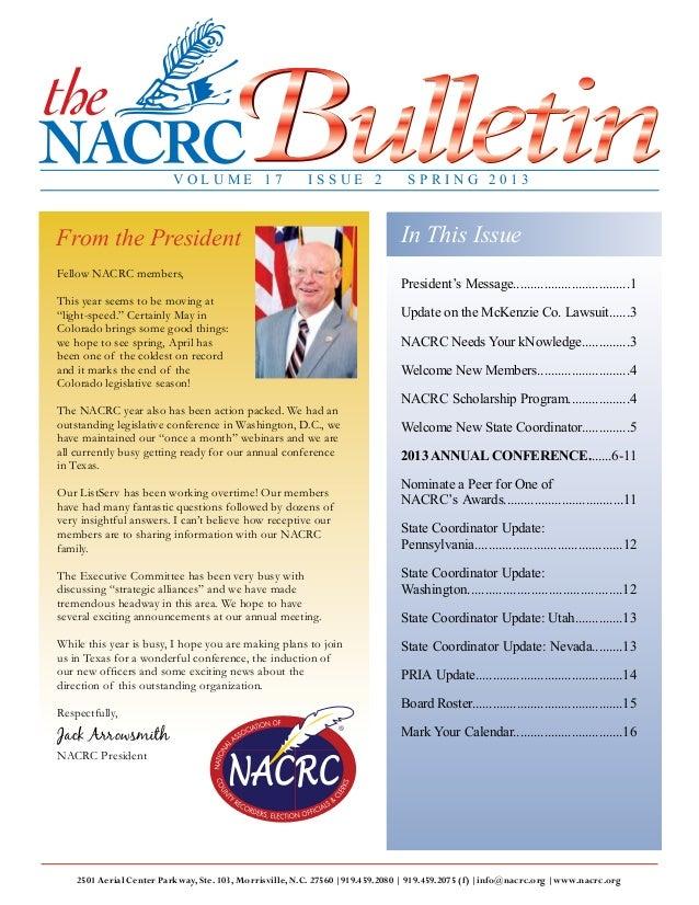 page 1 n The NACRC Bulletin n Spring 2013 n www.nacrc.org 2501 Aerial Center Parkway, Ste. 103, Morrisville, N.C. 27560 |9...