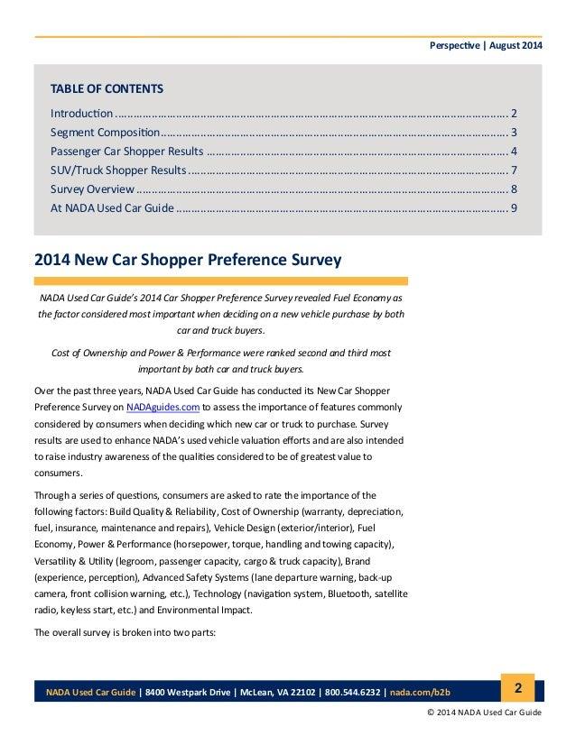 NADA 2014 New Car Shopper Preference Survey Study