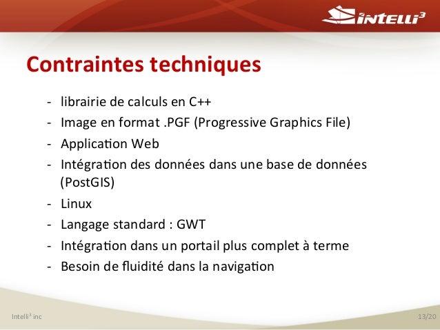 Contraintes  techniques   -‐ -‐ -‐ -‐ -‐ -‐ -‐ -‐  Intelli3  inc    librairie  de  calculs  ...