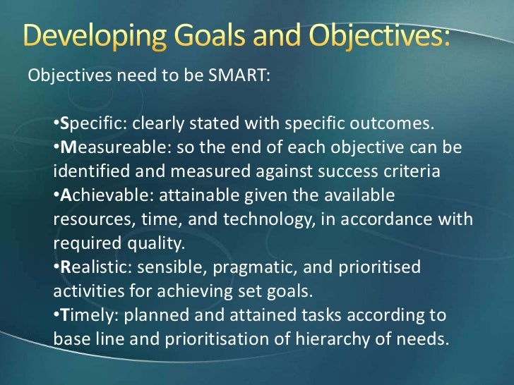 project objectives examples pdf