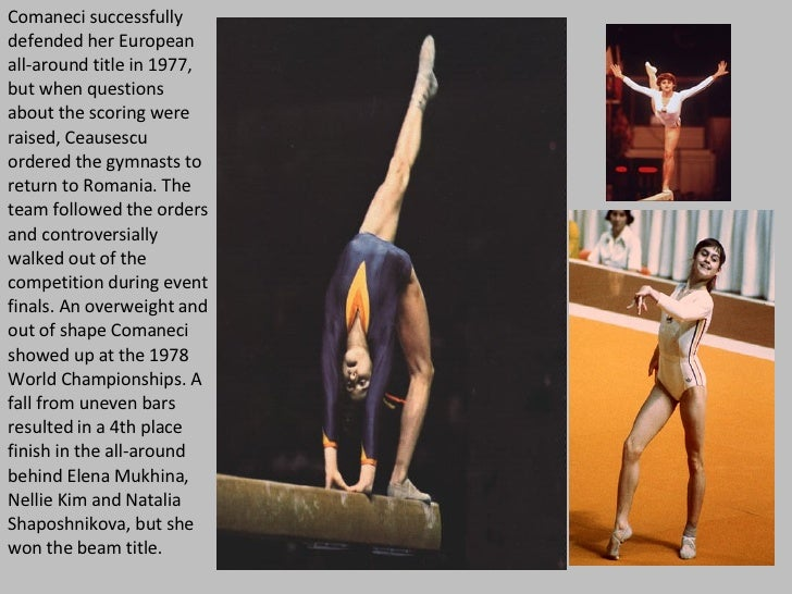 Comaneci successfully defended her European all-around title in 1977, but when questions about the scoring were raised, Ce...