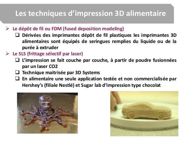 Les techniques d'impression 3D alimentaire  Le dépôt de fil ou FDM (fused deposition modeling)  Dérivées des imprimantes...