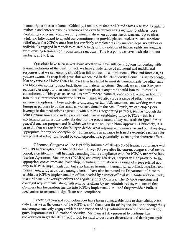 President Obama's Letter on Countering Iran Slide 3