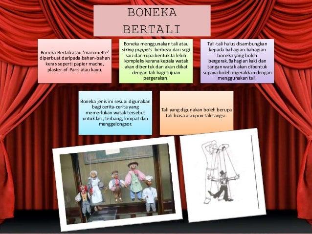 BONEKA BERTALI Boneka Bertali atau 'marionette' diperbuat daripada bahan-bahan keras seperti papier mache, plaster-of-Pari...