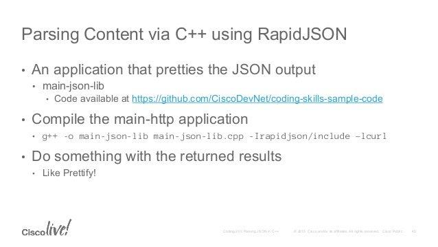 DEVNET-2006 Coding 210: Parsing JSON in C++