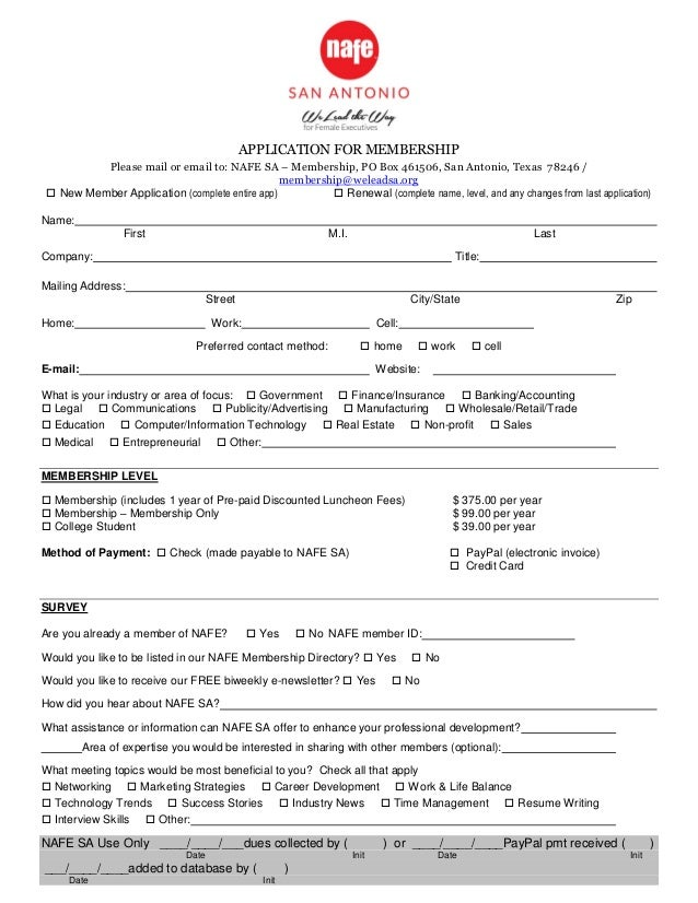 APPLICATION FOR MEMBERSHIP Please mail or email to: NAFE SA – Membership, PO Box 461506, San Antonio, Texas 78246 / member...