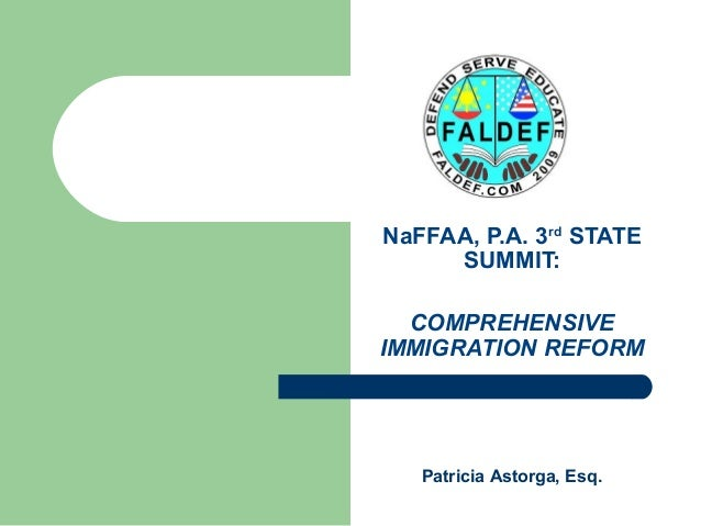 NaFFAA, P.A. 3rd STATE SUMMIT: COMPREHENSIVE IMMIGRATION REFORM Patricia Astorga, Esq.