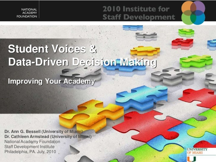 Student Voices & Data-Driven Decision Making <br />Improving Your Academy<br />Dr. Ann G. Bessell (University of Miami)<br...