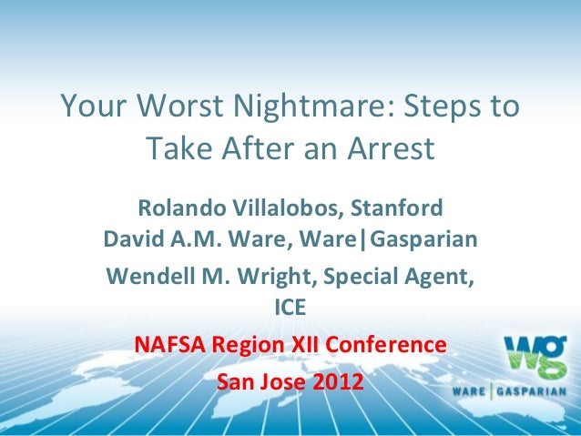 Your Worst Nightmare: Steps to     Take After an Arrest    Rolando Villalobos, Stanford  David A.M. Ware, Ware|Gasparian  ...