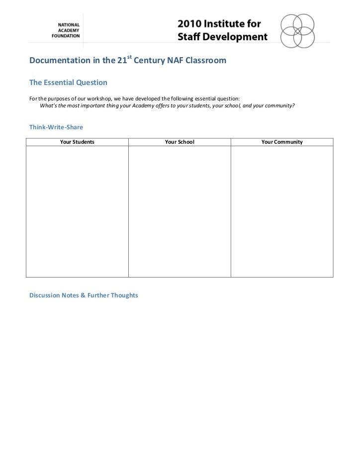 Documentation	  in	  the	  21st	  Century	  NAF	  Classroom	  	  	  The	  Essential	  Question	  	  For	  the	  purposes	 ...