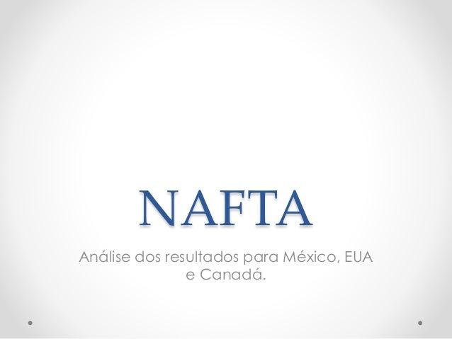 NAFTA Análise dos resultados para México, EUA e Canadá.