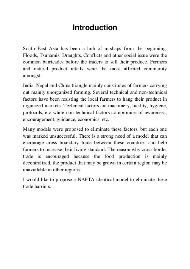 Nafta Identical Trade Model For India Nepal And China