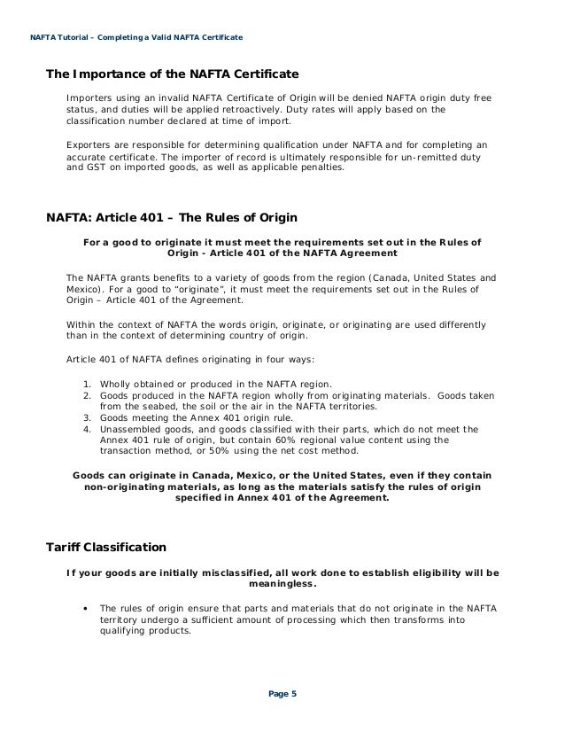 Nafta Tutorial Steps To Completing A Valid Nafta Certificate