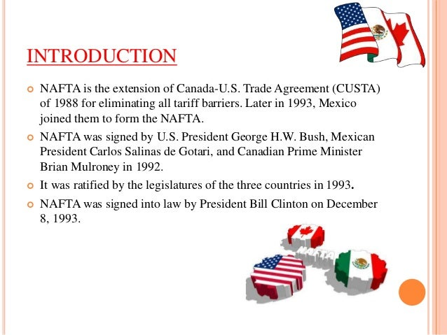 An Introduction to the North American Free Trade Agreement (NAFTA) in North America