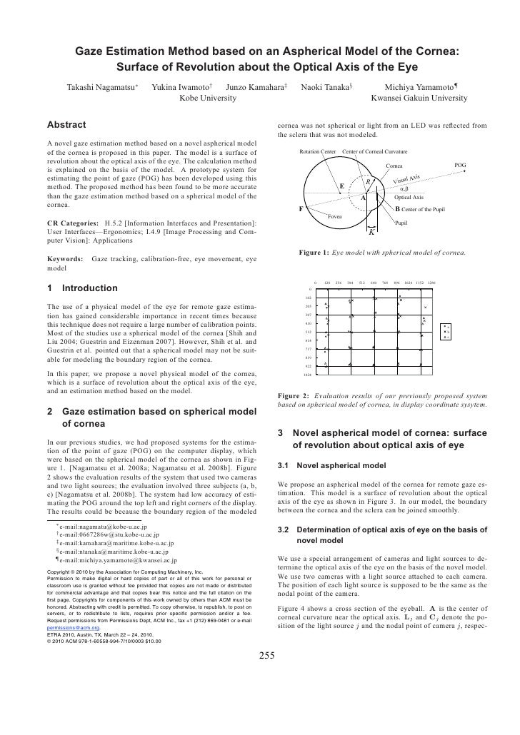 Gaze Estimation Method based on an Aspherical Model of the Cornea:                   Surface of Revolution about the Optic...