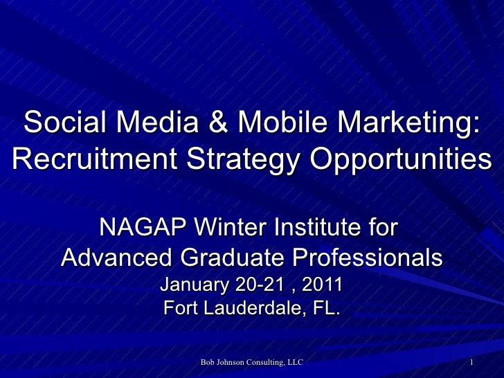 <ul>Social Media & Mobile Marketing: Recruitment Strategy Opportunities </ul><ul>NAGAP Winter Institute for  Advanced Grad...