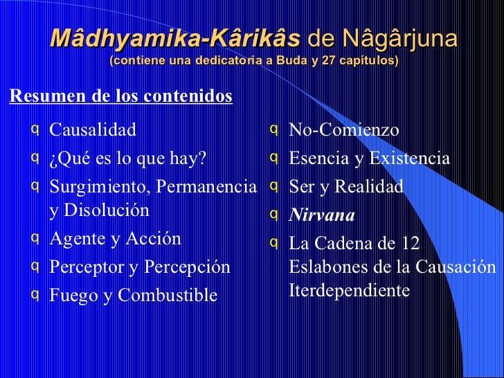 Mâdhyamika-Kârikâs  de   Nâgârjuna (contiene una dedicatoria a Buda y 27 capítulos) <ul><li>Causalidad </li></ul><ul><li>¿...